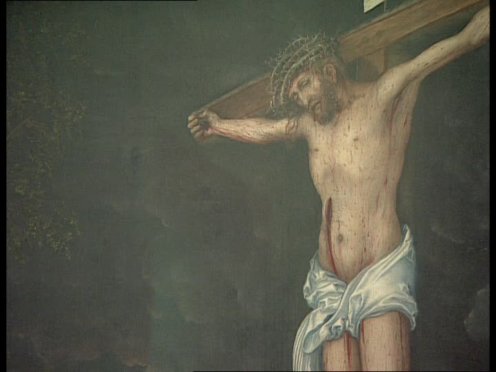 695326251-cardinal-albrecht-of-brandenburg-in-front-of-the-crossbred-lucas-cranach-crucifixion-of-christ-alte-pinakothek